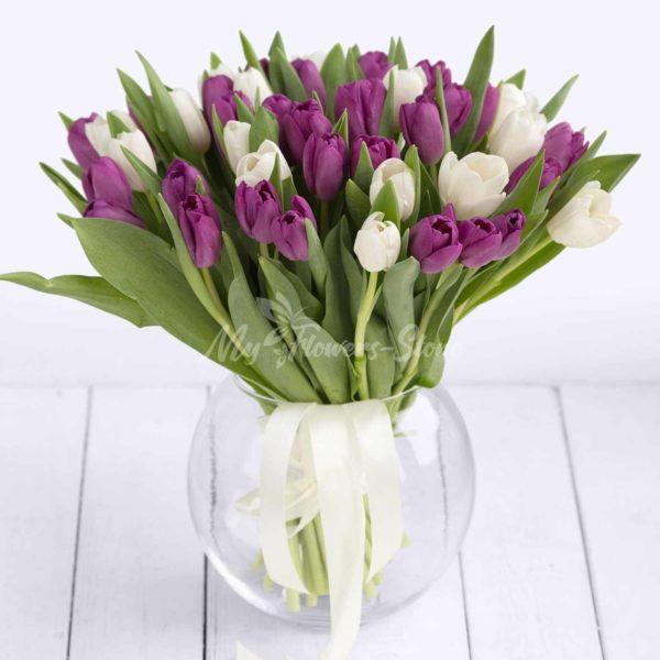 51 фиолетовый и белый тюльпан