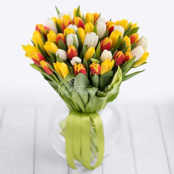 51микс желтый и белый тюльпан