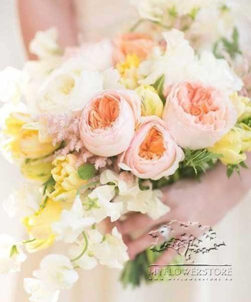 Свадебный букет невесты Лия из английских роз David Austin