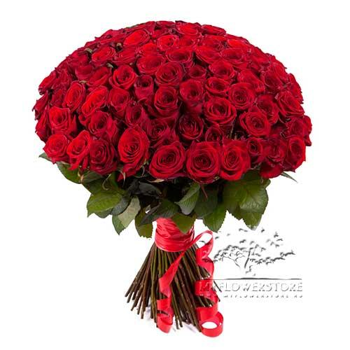 101 красная роза Любящее сердце
