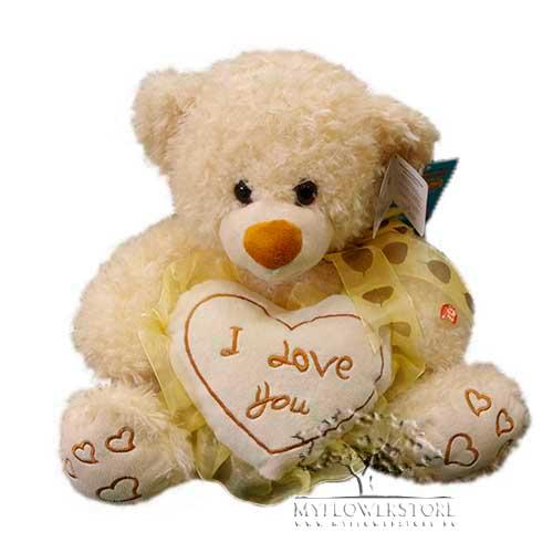 Мягкая игрушка Медвежонок с сердечком I love you