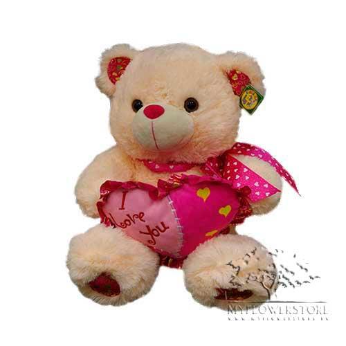 Мягкая игрушка Медвежонок с красным сердечком I love you
