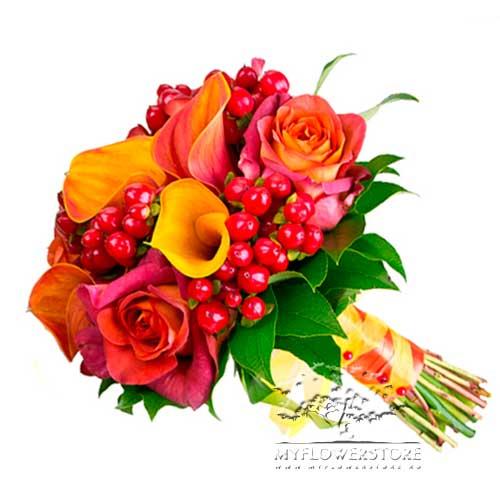 Свадебный букет невесты Летняя ночь из французских роз и калл