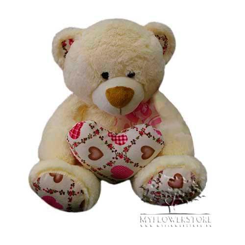 Мягкая игрушка Медвежонок с розовыми сердечками на лапках