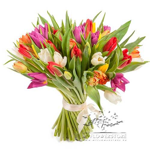 Букет из тюльпанов микс Памела