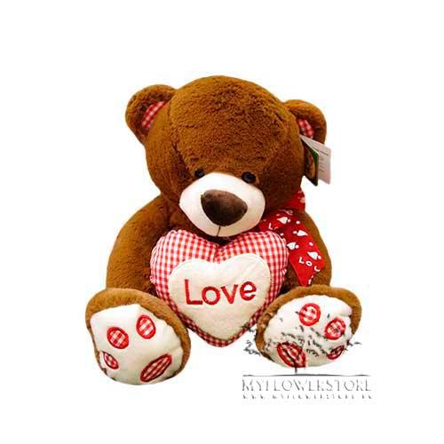 Мягкая игрушка Медвежонок с розовым клетчатым сердечком Love