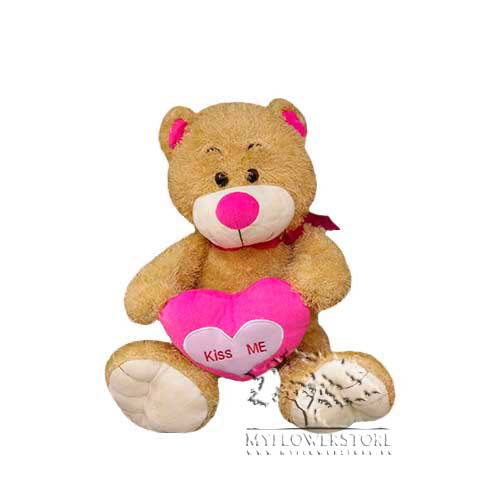 Мягкая игрушка Медвежонок с розовым сердечком Kiss me