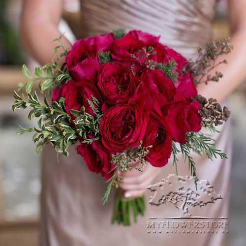 Свадебный букет невесты Лилиана из английских роз David Austin