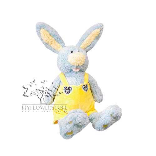 Мягкая игрушка Плюшевый зайчик в комбинезоне