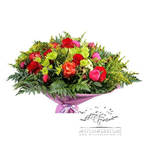 Букет из роз, пионов и хризантем Моника