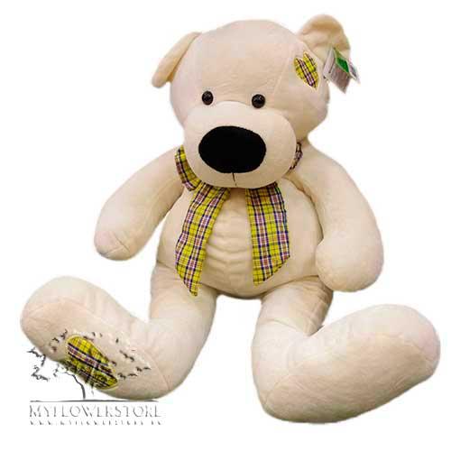 Мягкая игрушка Медвежонок с клетчатым сердечком на лапке