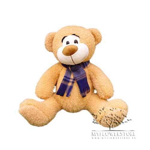 Мягкая игрушка Медвежонок в клетчатом шарфике