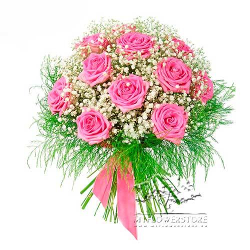 Букет из розовых роз и гипсофилы Ченнаи