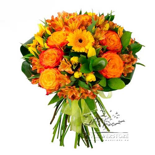 Букет из гербер, роз и желтых тюльпанов Иматра