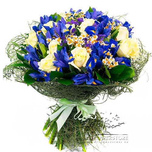 Букет из роз, ромашек и синих ирисов Ялта