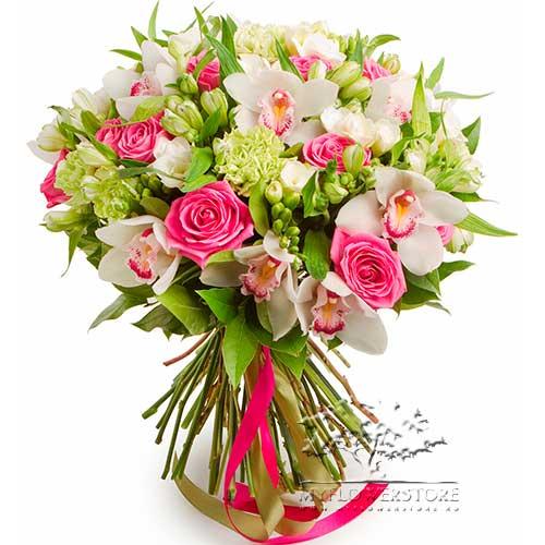 Букет из роз, гвоздик и альстромерий Сиань