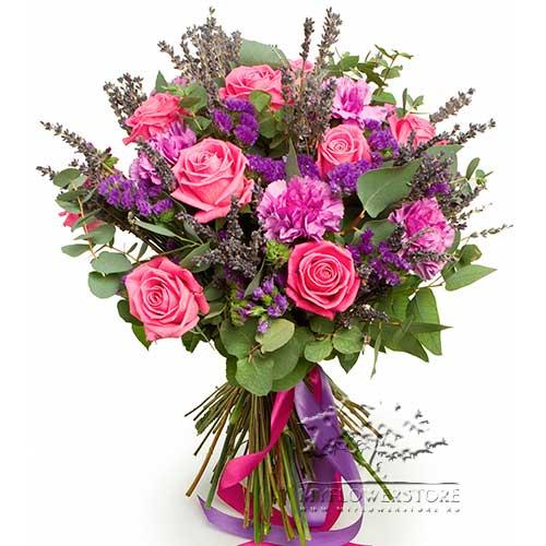 Букет из розовых роз, гвоздик и лаванды Эдмонтон