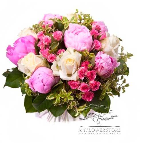 Букет из розовых пионов и роз Глазго