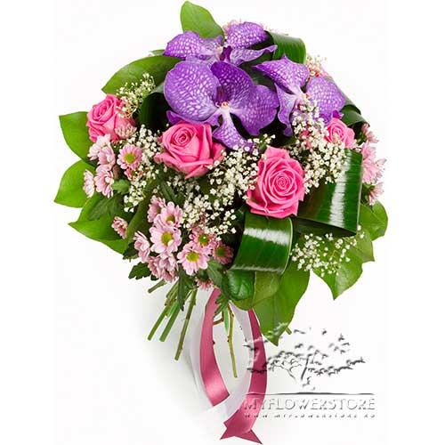 Букет из роз, экзотической ванды и хризантем Ксанти