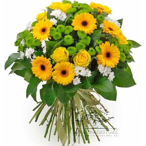 Букет из желтых гербер, роз и хризантем Каир