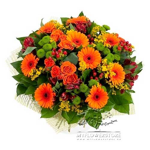 Букет из ярких гербер, роз и хризантем Люблин