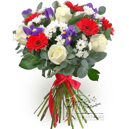Букет из роз, гербер и хризантем Киев