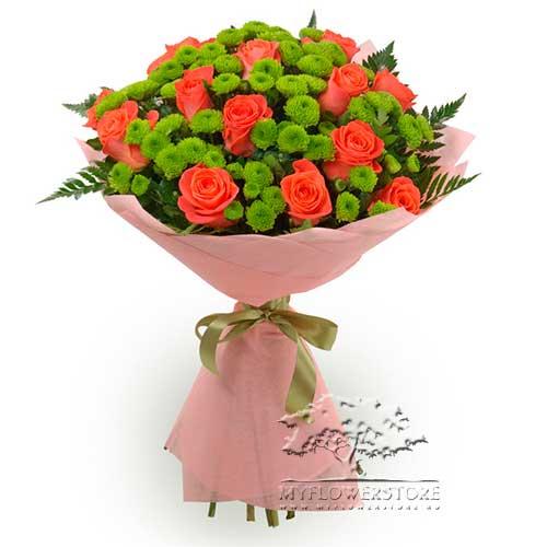Букет из оранжевых роз и хризантем Лозанна