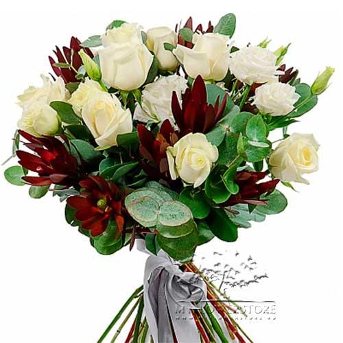 Букет микс из роз, эустомы и эвкалипта Будва