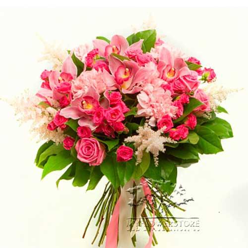 Букет из розовых роз, гвоздик и цимбидиума Сиде
