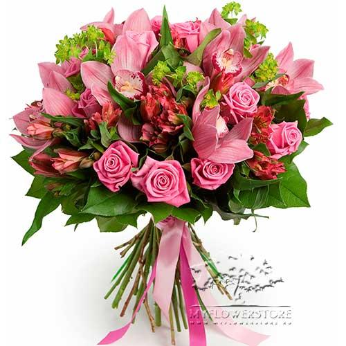 Букет микс из роз, орхидей и альстромерий Рига