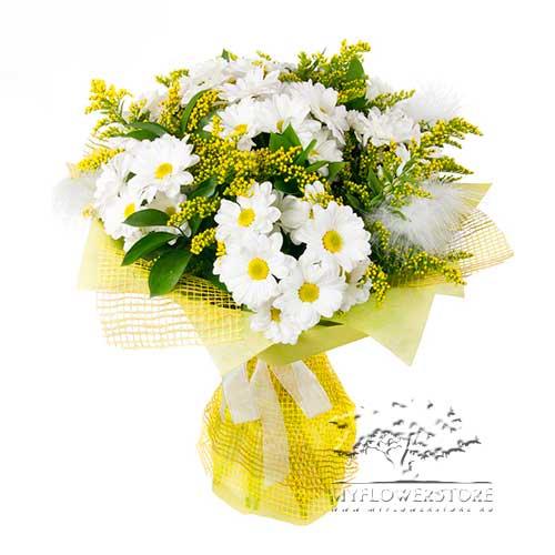 Букет из белых хризантем и папоротника Панама
