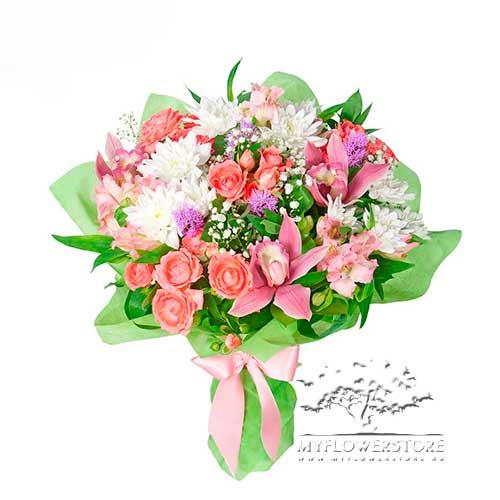 Букет из роз, орхидей и хризантем Оренбург