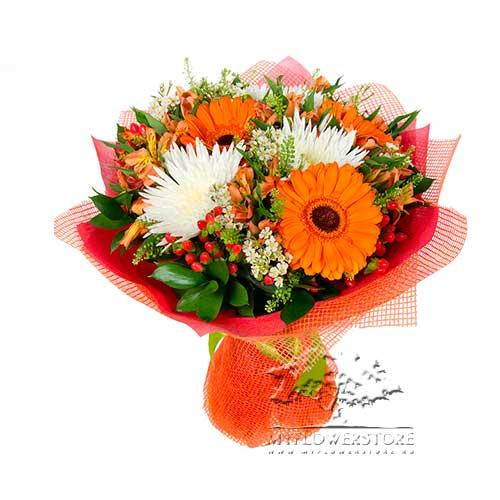 Букет из хризантем, гербер и альстромерий Таллин