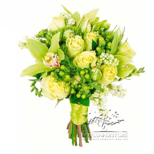 Букет из белых роз, орхидей и гвоздик Лхаса