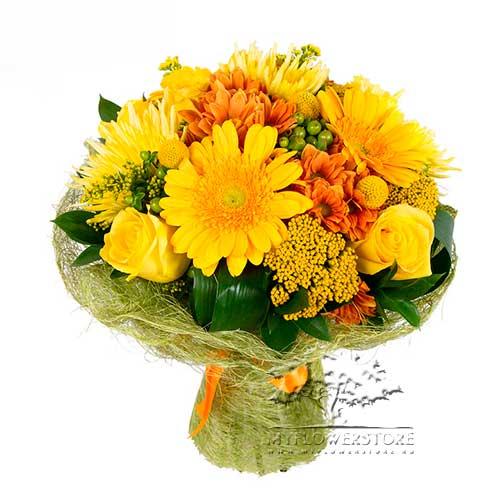 Букет из желтых роз, гербер и хризантем Лион