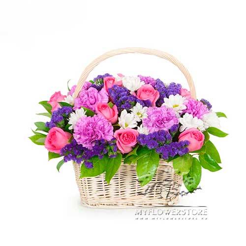 Цветочная композиция из гвоздик, роз и хризантем Тольятти