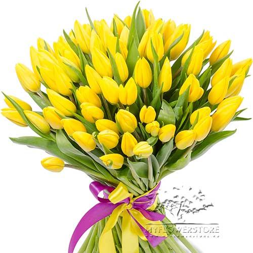 Букет из желтых тюльпанов Борне