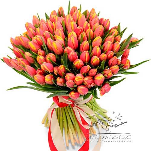 Букет из солнечных тюльпанов Алфен