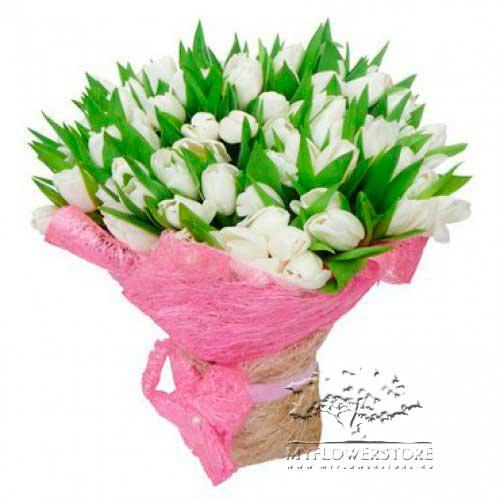 Букет из белых тюльпанов Варфюм