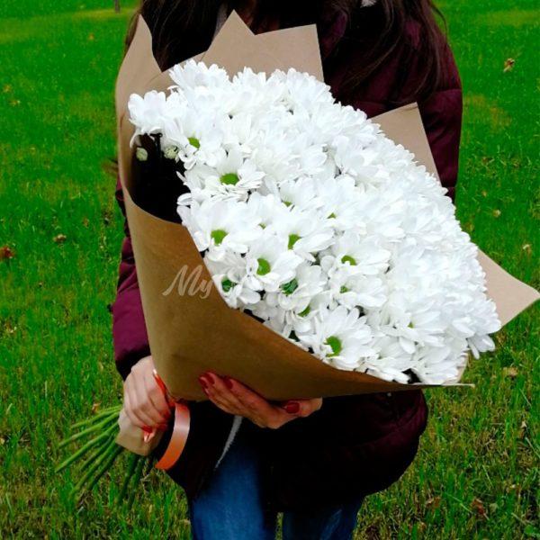 Букет из 15 кустовых хризантемы