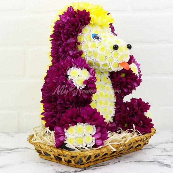 Игрушка из живых цветов Единорог прекрасный
