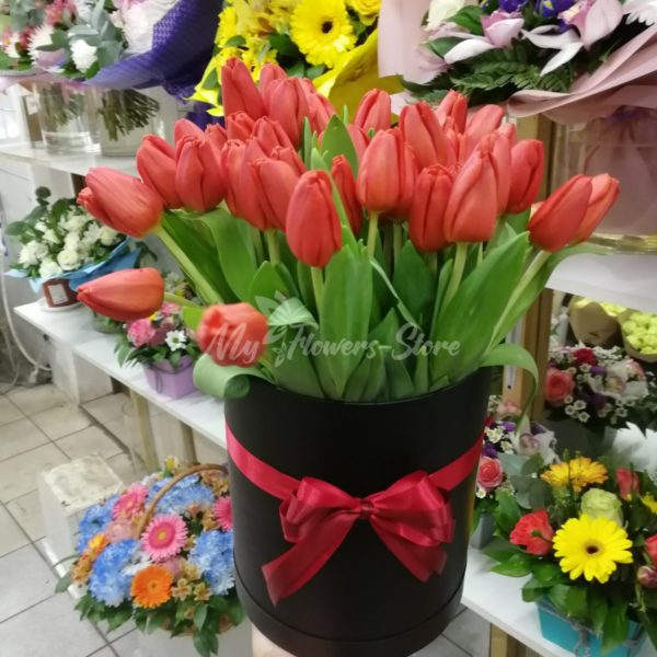 Букет из 51 красных тюльпанов в коробке