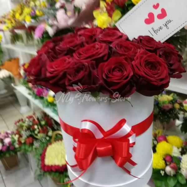 Букет из 25 роз в коробке