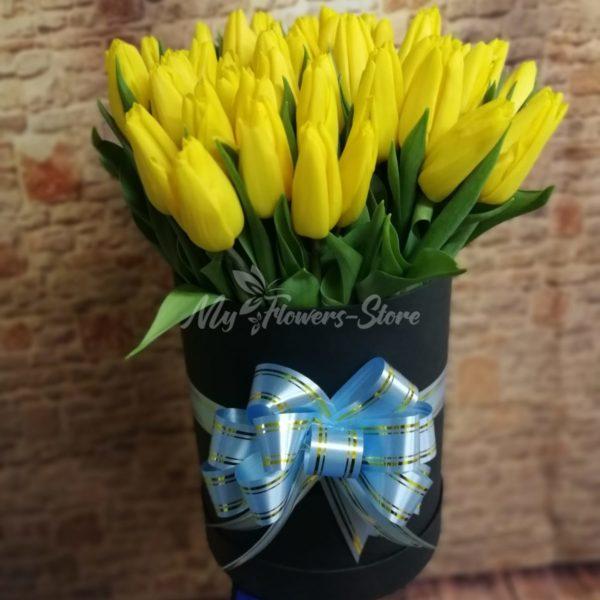 51 тюльпан в черном коробке